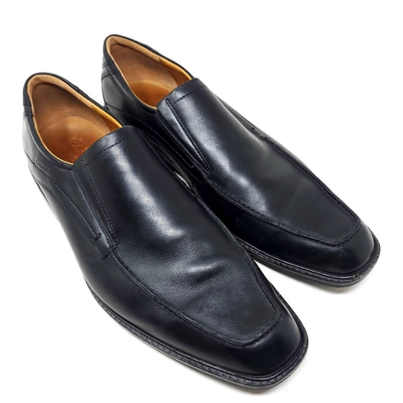 Ecco Black Leather Square Toe Comfort Loafers 13